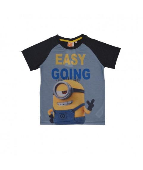 Παιδικό T-shirt ''Easy going'' Γαλάζιο-Ανθρακί 380240-07
