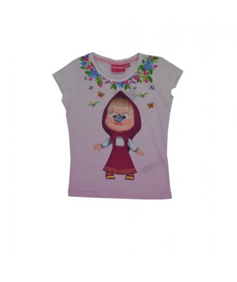 Παιδικό T-shirt Masha and the Bear λευκό-Ροζ 380240-04