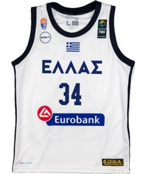 GSA Hellas Basketball Game Shirt Antetokounmpo G. WHITE 2019 ΑΣΠΡΟ