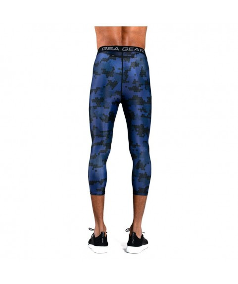 Mens GSA Sport Hydro+ Performance Compression Sublimation 3/4 Leggings  Ink 1718022-03