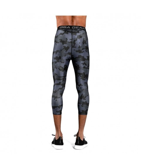 Mens GSA Sport Hydro+ Performance Compression Sublimation 3/4 Leggings Frost Grey 1718022-05
