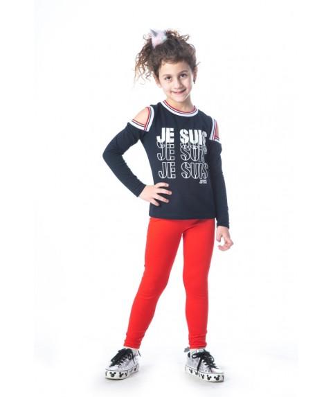Παιδικό σετ  παντελόνι/t-shirt Joyce κόκκινο/navy για κορίτσι