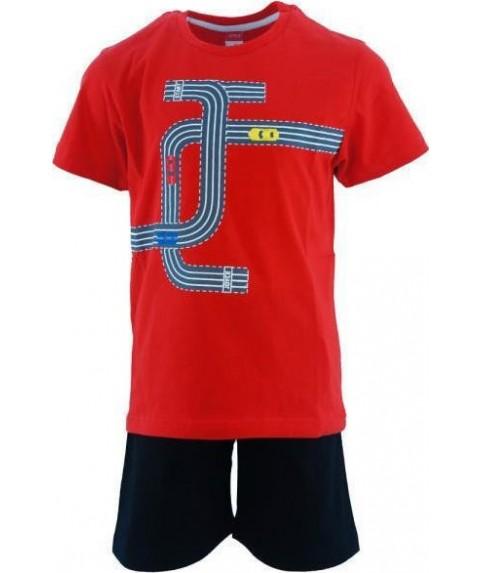 Παιδικό σετ  σόρτς/t-shirt Joyce μαύρο-κόκκινο για αγόρι 201273-1