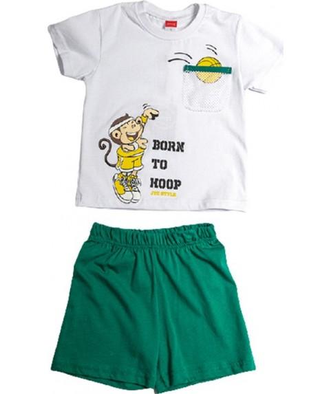 Παιδικό σετ  Σορτσάκι με Μπλούζα 'Born To Hoop' Joyce Λευκό/Πράσινο 211385-02