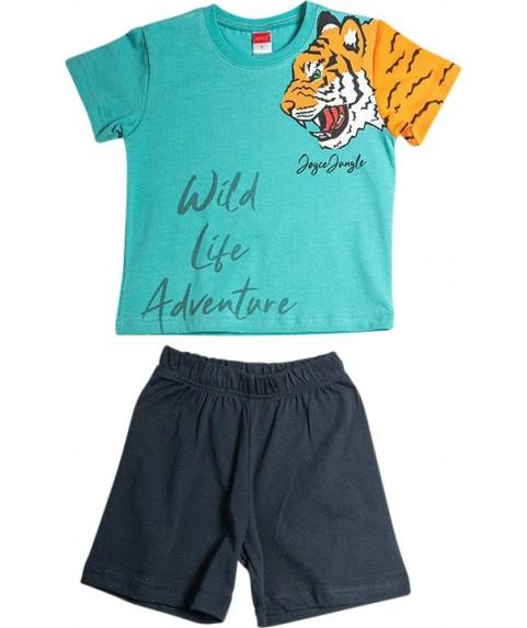 Παιδικό Σετ Σορτσάκι με Μπλούζα  Joyce 'Wild Life' Χακί/Γκρί 211386-05