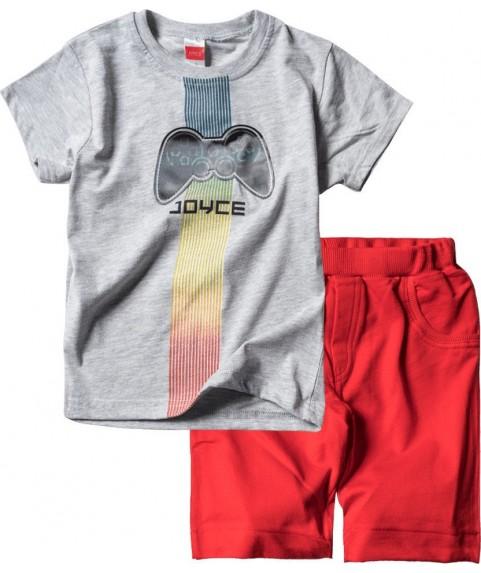 Παιδικό Σετ Σορτσάκι με Μπλούζα  Joyce Γκρί/Κόκκινο 211364-01