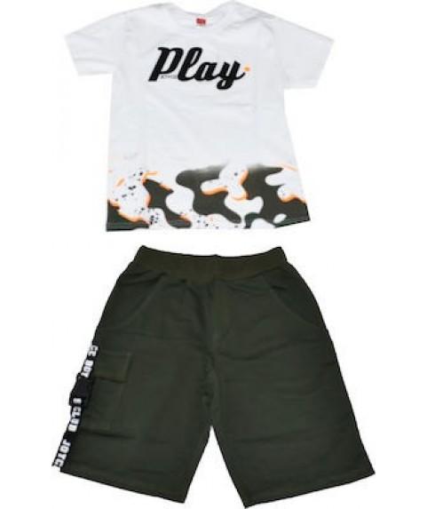 """Παιδικό σετ Joyce """"Playl """" Λαδί/Λευκό για αγόρι 201428-01"""