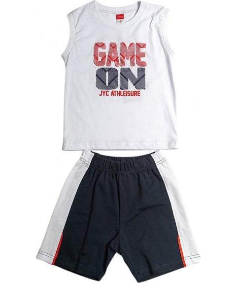 Παιδικό σετ  Σορτσάκι με Μπλούζα 'Game On' Λευκό/ Σ. Μπλέ 211381-01