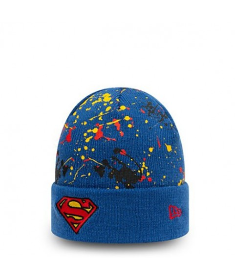 SUPERMAN CHARACTER PAINT SPLAT KIDS BLUE CUFF BEANIE HAT 60141866