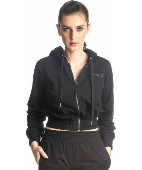 Ζακέτα Φούτερ Γυναικεία Paco & Co Μαύρη 218215-01