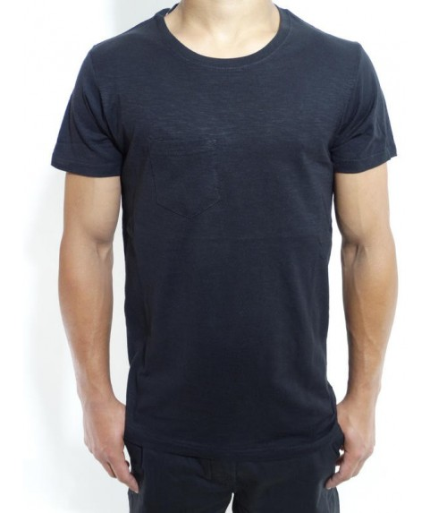 SLUB TEES WITH POCKET JET BLACK